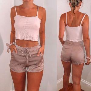 Satin Lace-Up Shorts